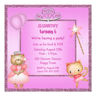 Princess Kitty Bear Tiara Glitter Invites