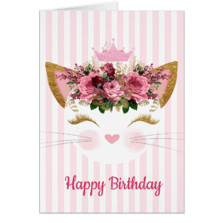 Princess Kitty Birthday Card