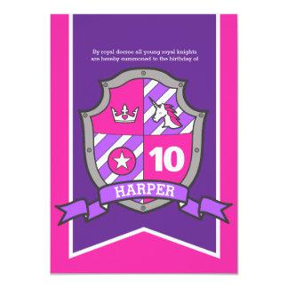Princess knights shield kids 10th birthday invites