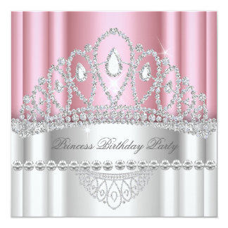 Princess Light Pink White Diamond Tiara Birthday Card