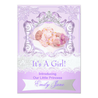 Princess Lilac New Baby Girl Anouncement Photo 13 Cm X 18 Cm Invitation Card