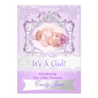 Princess Lilac New Baby Girl Anouncement Photo Invitation