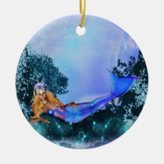 Princess Mermaid Round Ceramic Decoration