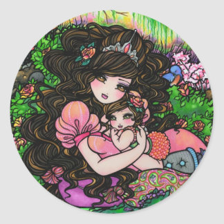 Princess Mom & Baby Shower Fantasy Art Stickers