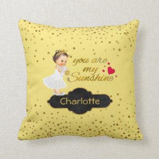 Princess Name   You Are My Sunshine Gold Nursery Cushion