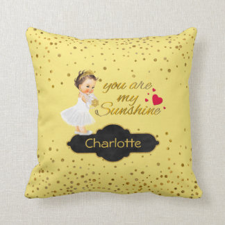 Princess Name | You Are My Sunshine Gold Nursery Throw Pillow