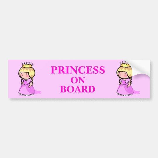 Princess On Board Bumper Sticker