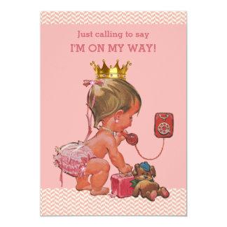 Princess on Phone Baby Shower Chevrons Pink 13 Cm X 18 Cm Invitation Card
