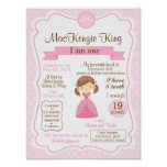 Princess one year sign for your birthday girl poster