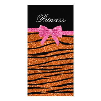 Princess orange glitter zebra stripes pink bow photo card
