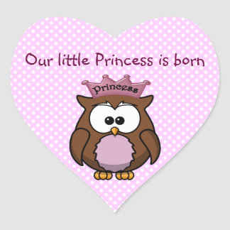 Princess owl heart sticker