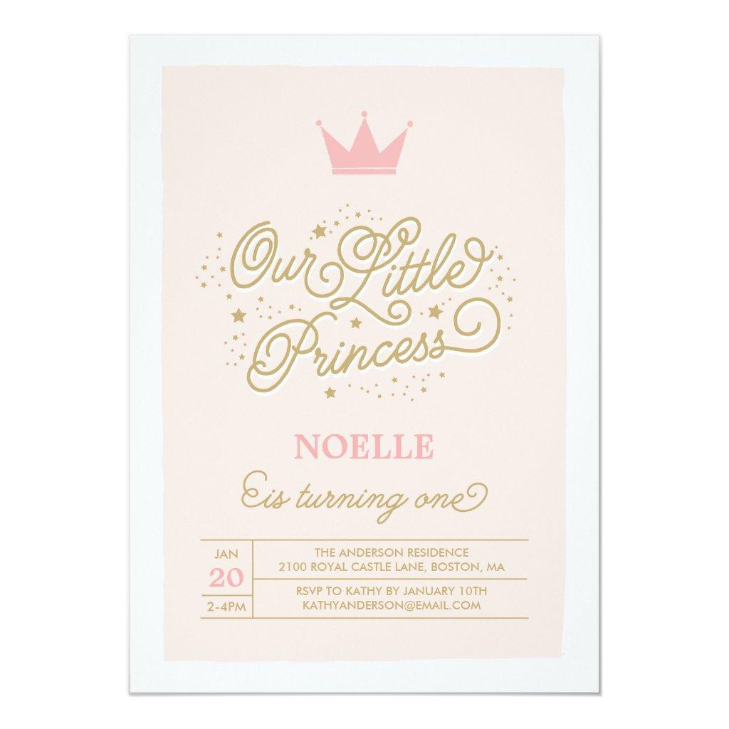Princess Party 1st Birthday | Birthday Invitation