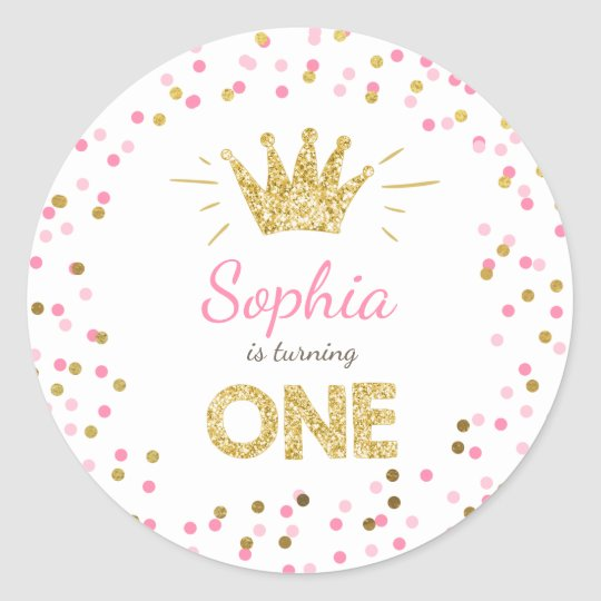 Princess Party Favour Tags Envelope Pink and Gold