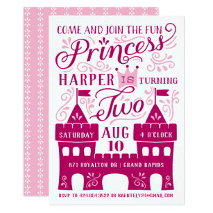 Princess Party Girls Second Birthday Invitations