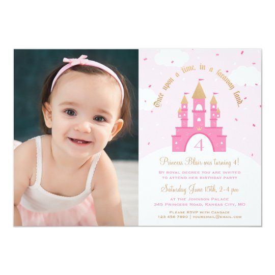 Princess Party Photo Invitations | Pink & Gold