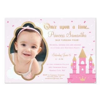 Princess Party Photo Invitations | Pink & Gold