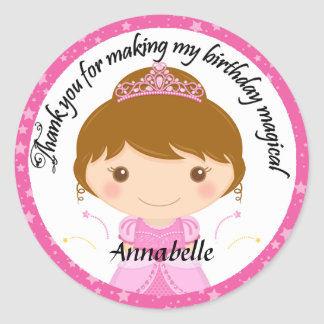 Princess Party Thank You Round Sticker