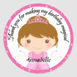 Princess Party Thank You Round Stickers