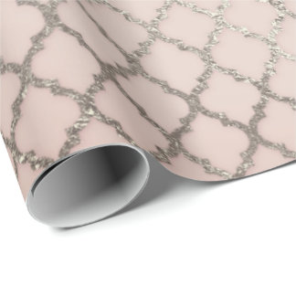 Princess Pastel Pink Blush Foxier Silver Net Shiny Wrapping Paper
