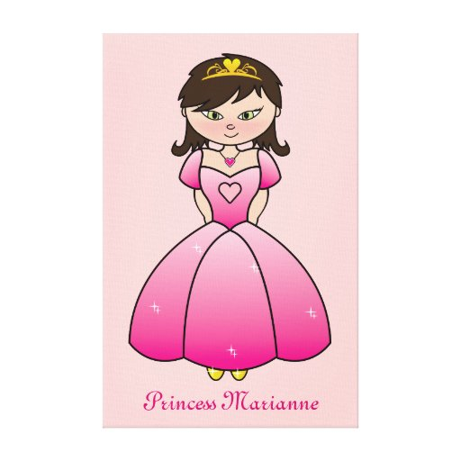 Princess Personalized Girls Room Canvas Wall Art Stretched Canvas Prints