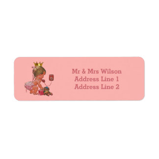 Princess Phone Teddy Suitcase Baby Shower Return Address Label
