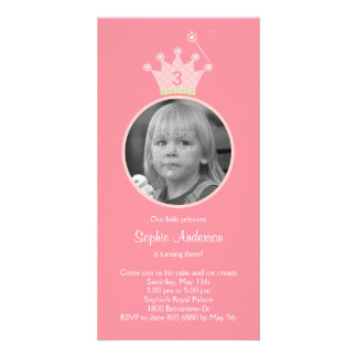 Princess Photo Birthday Party Invitation Customised Photo Card