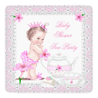 Princess Pink Baby Shower Girl Tea Party 13 Cm X 13 Cm Square Invitation Card