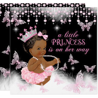 Princess Pink Butterfly Baby Shower Ethnic Card