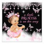 Princess Pink Butterfly Girl Baby Shower Cute 13 Cm X 13 Cm Square Invitation Card