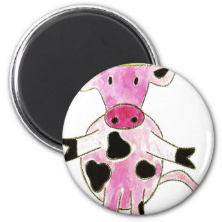 Princess Pink Cow 6 Cm Round Magnet