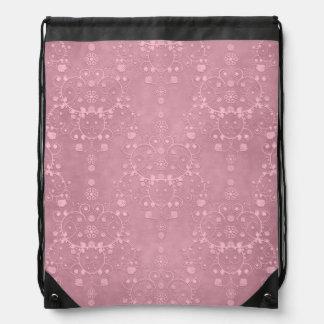 Princess Pink Fancy Girly Floral Damask Pattern Rucksacks