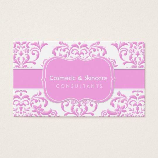 Princess Pink Floral Damask Business Card