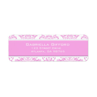 Princess Pink Floral Damask Return Address Label