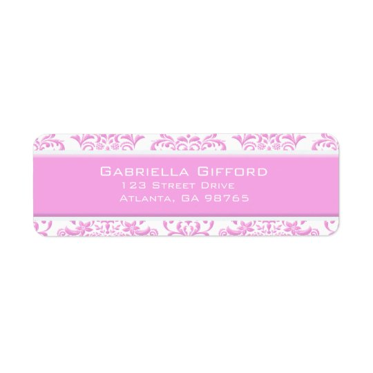 Princess Pink Floral Damask Return Address Label
