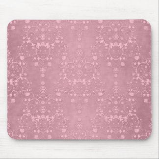 Princess Pink Girly Floral Damask Pattern Mouse Pad
