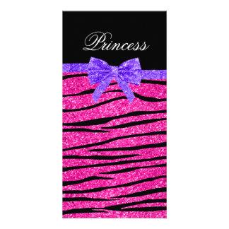 Princess pink glitter zebra stripes purple bow picture card