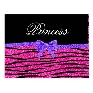 Princess pink glitter zebra stripes purple bow postcard