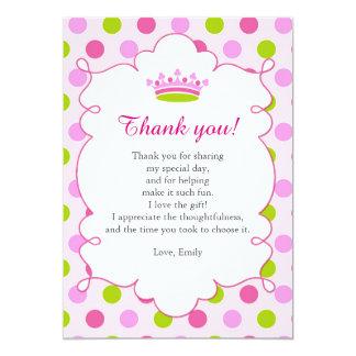 Princess Pink Green Thank You Card Note 13 Cm X 18 Cm Invitation Card