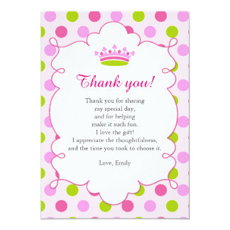 Princess Pink Mint Green Thank You Card Note