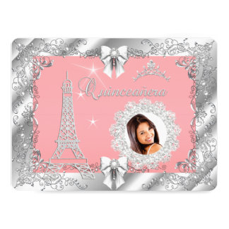 Princess Pink PEACH Quinceanera Silver Photo BIG 17 Cm X 22 Cm Invitation Card
