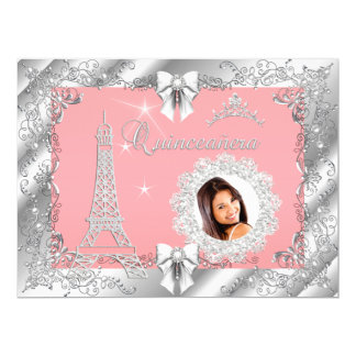 Princess Pink PEACH Quinceanera Silver Photo BIG Card