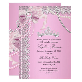 Princess Pink Pearl Bow Lace Birthday Party A Card