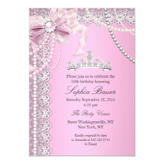 Princess Pink Pearl Bow Lace Birthday Party A 13 Cm X 18 Cm Invitation Card