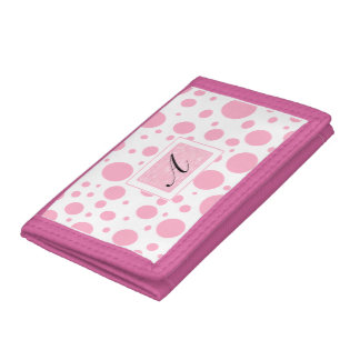 Princess Pink Polka Dots with Her Initial Tri-fold Wallet