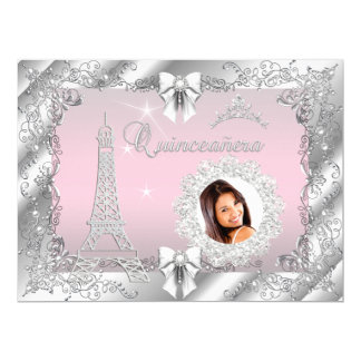 Princess Pink Quinceanera Silver Photo BIG 17 Cm X 22 Cm Invitation Card