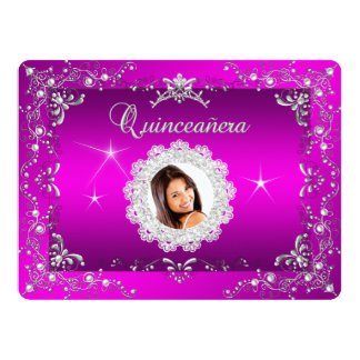 Princess Pink Quinceanera Silver Tiara Party Card