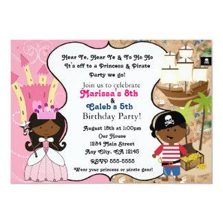 Princess & Pirate Dark Skin Ethnic Invitations
