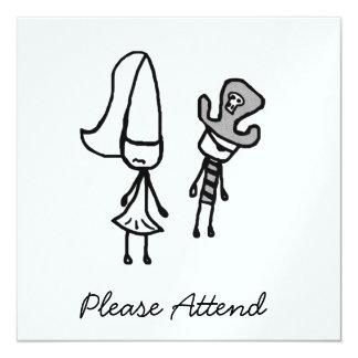 Princess & Pirate Doodle 13 Cm X 13 Cm Square Invitation Card