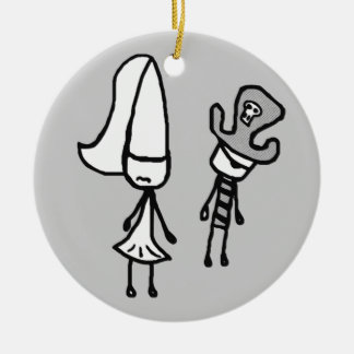 Princess & Pirate Doodle Collectible Christmas Ornament