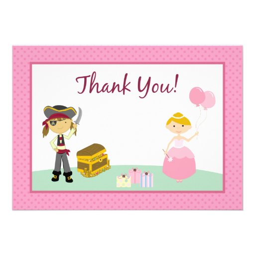 Princess & Pirate Flat Thank-You Card Personalized Announcement